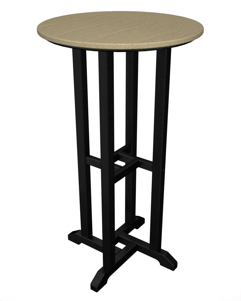 RBT224FBLSA Contempo 24inch Round Bar Table in Black and Sand
