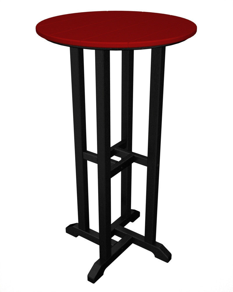 RBT224FBLSR Contempo 24inch Round Bar Table in Black and Sunset Red
