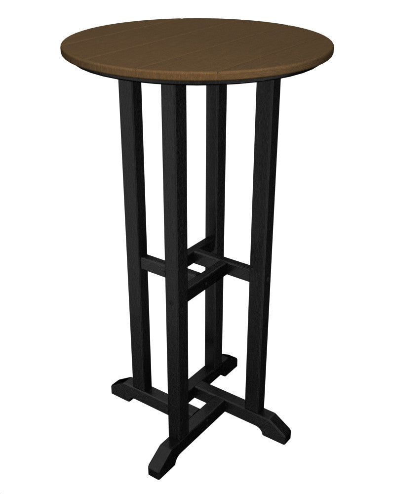 RBT224FBLTE Contempo 24inch Round Bar Table in Black and Teak