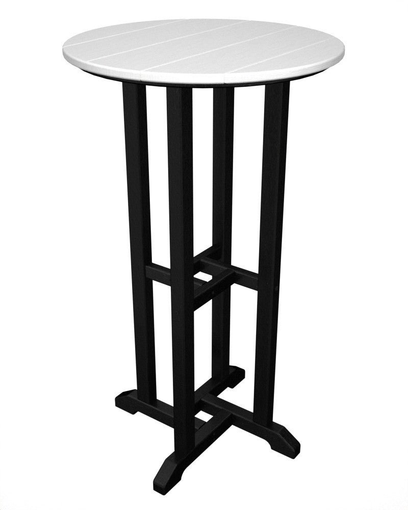 RBT224FBLWH Contempo 24inch Round Bar Table in Black and White