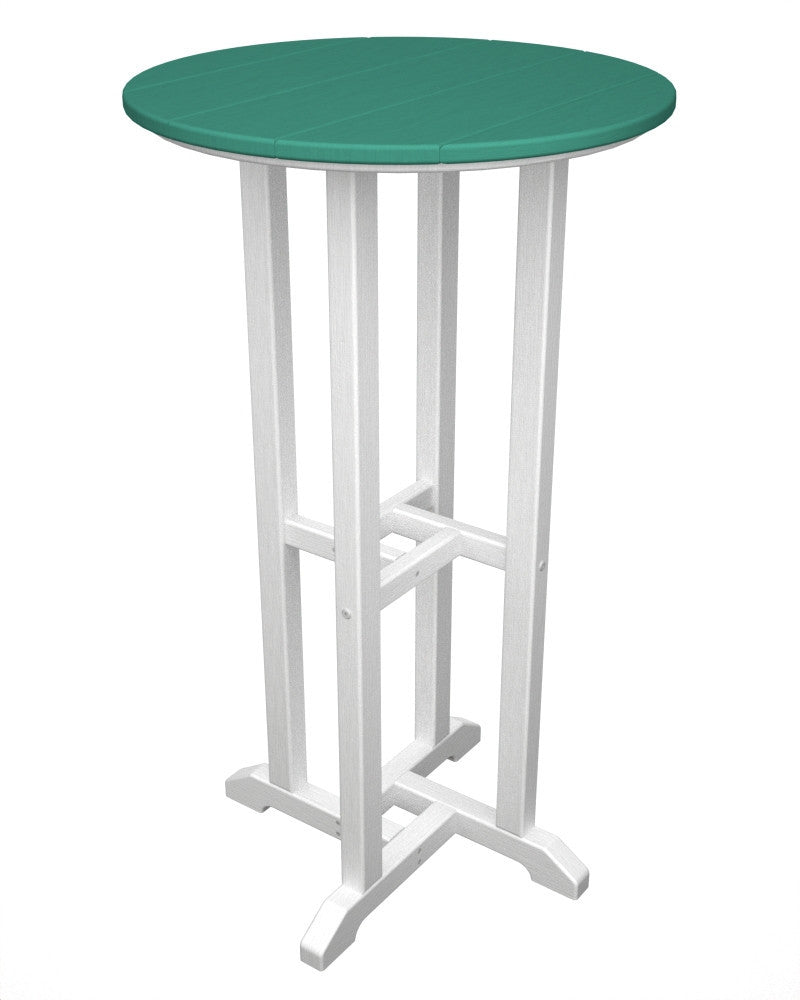 RBT224FWHAR Contempo 24inch Round Bar Table in White and Aruba