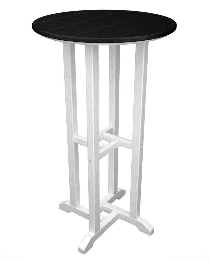 RBT224FWHBL Contempo 24inch Round Bar Table in White and Black