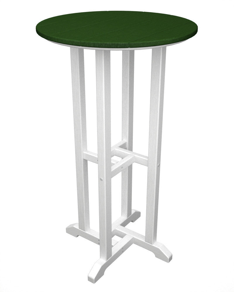 RBT224FWHGR Contempo 24inch Round Bar Table in White and Green
