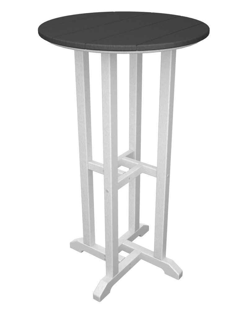 RBT224FWHGY Contempo 24inch Round Bar Table in White and Slate Grey