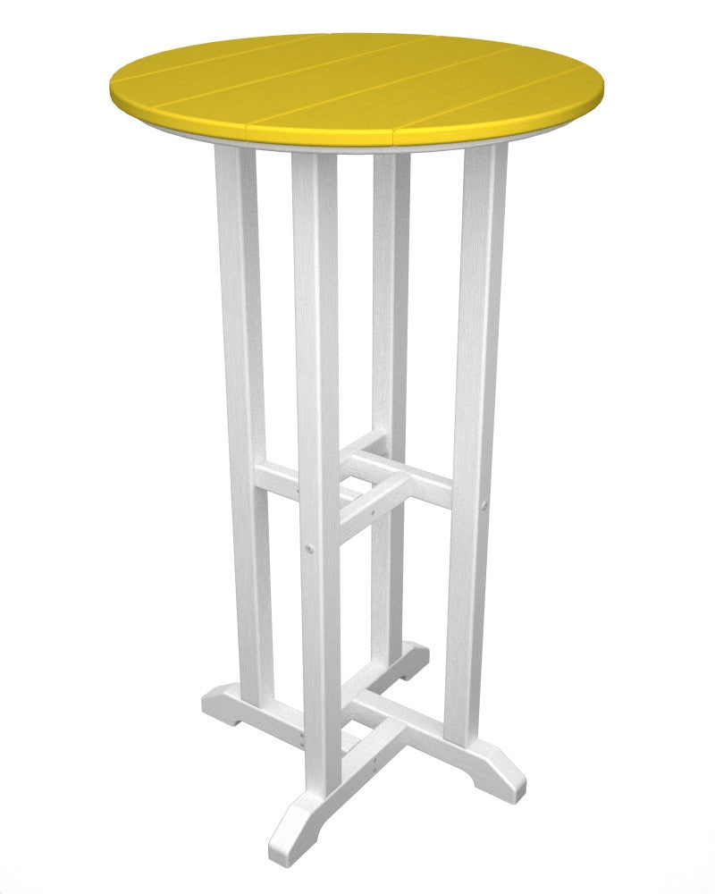 RBT224FWHLE Contempo 24inch Round Bar Table in White and Lemon