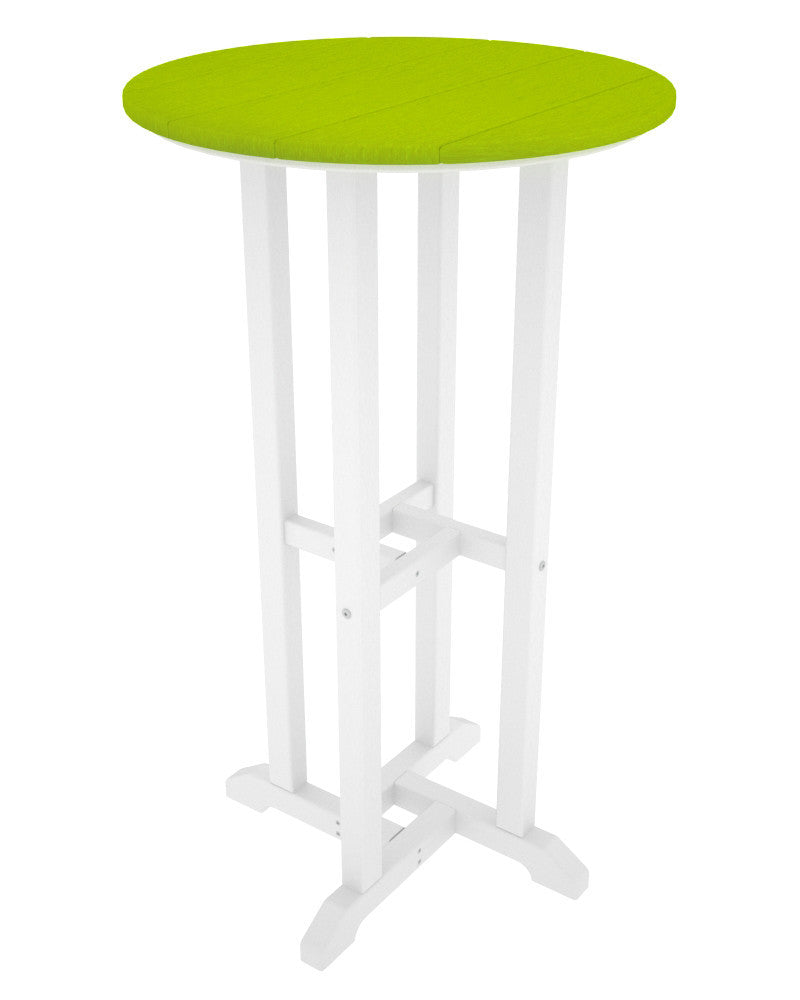 RBT224FWHLI Contempo 24inch Round Bar Table in White and Lime