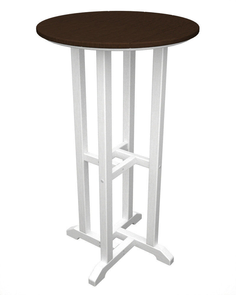 RBT224FWHMA Contempo 24inch Round Bar Table in White and Mahogany