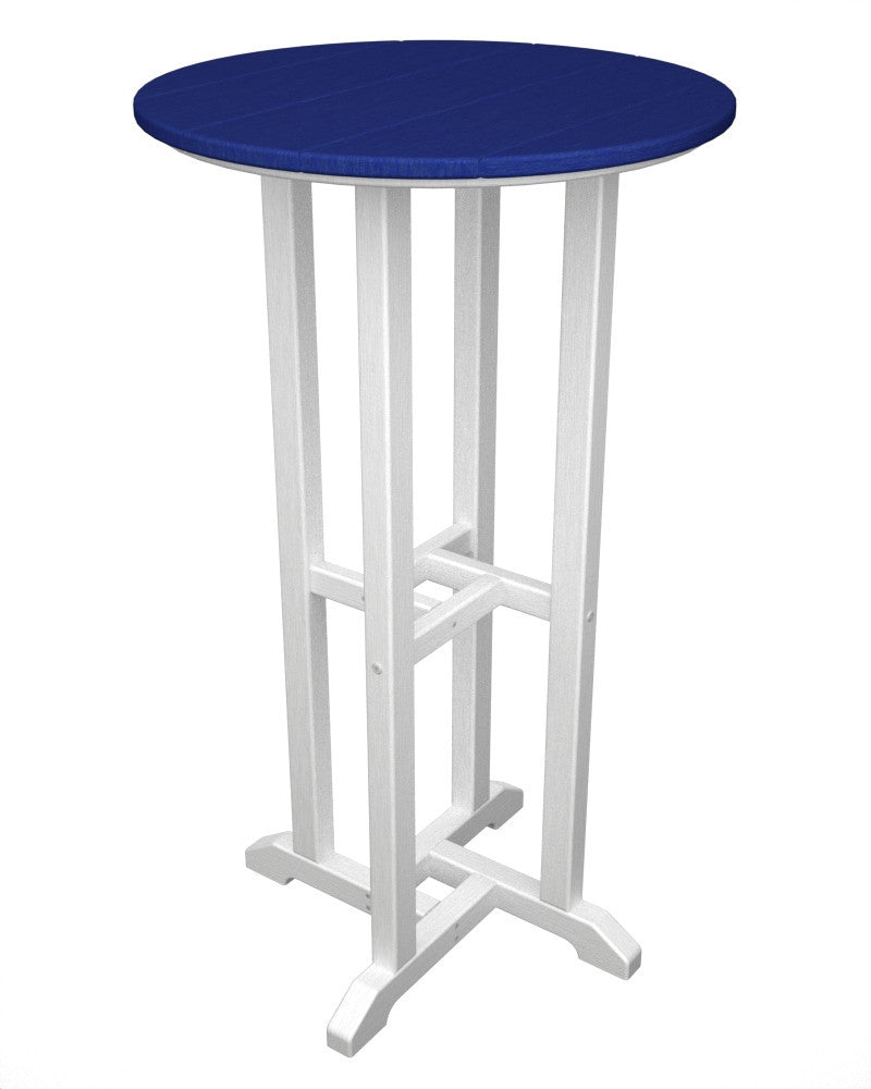 RBT224FWHPB Contempo 24inch Round Bar Table in White and Pacific Blue