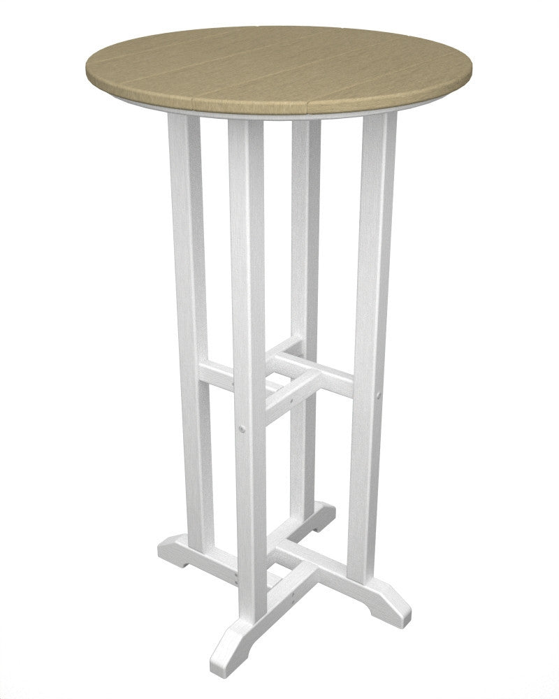 RBT224FWHSA Contempo 24inch Round Bar Table in White and Sand