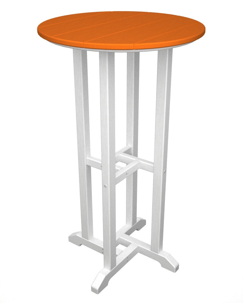 RBT224FWHTA Contempo 24inch Round Bar Table in White and Tangerine