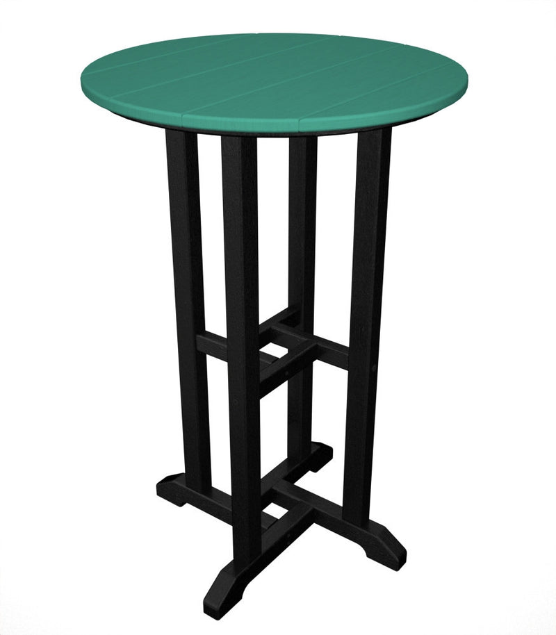 RRT224FBLAR Contempo 24inch Round Counter Table in Black and Aruba