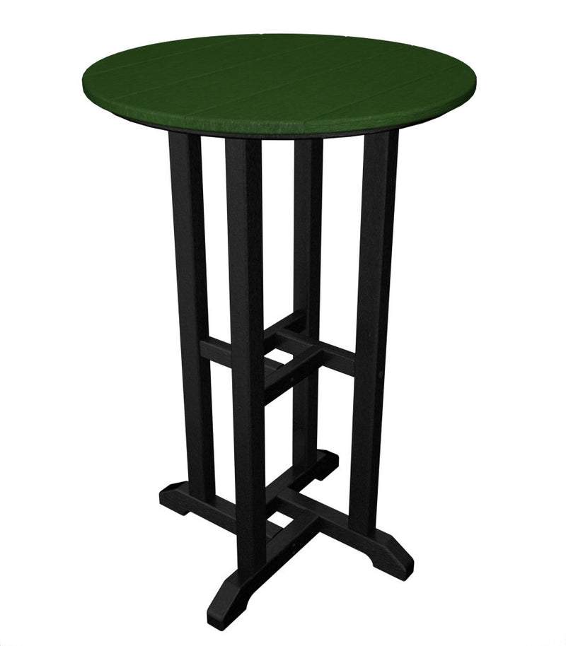 RRT224FBLGR Contempo 24inch Round Counter Table in Black and Green