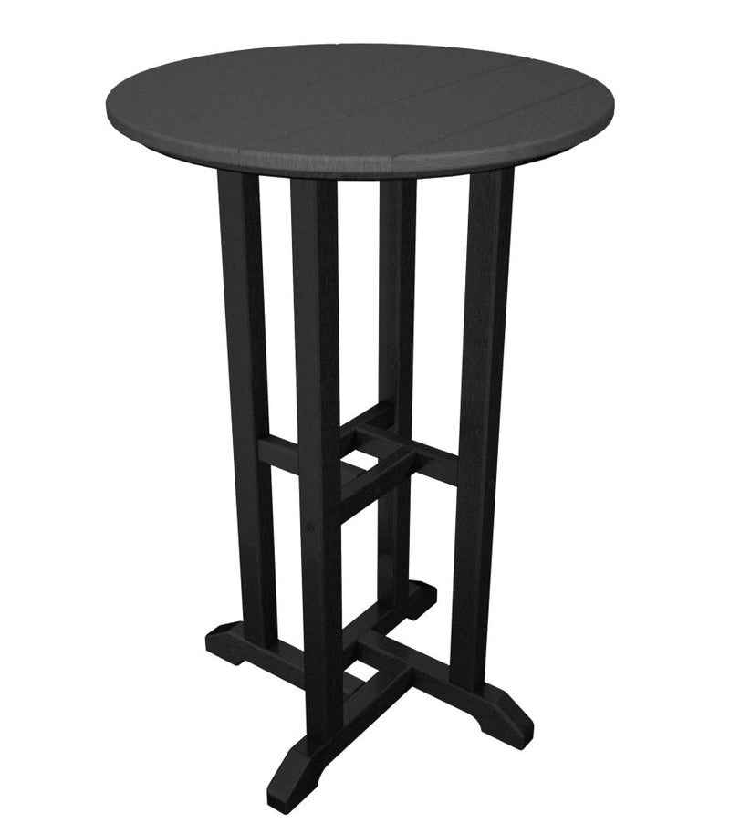 RRT224FBLGY Contempo 24inch Round Counter Table in Black and Slate Grey