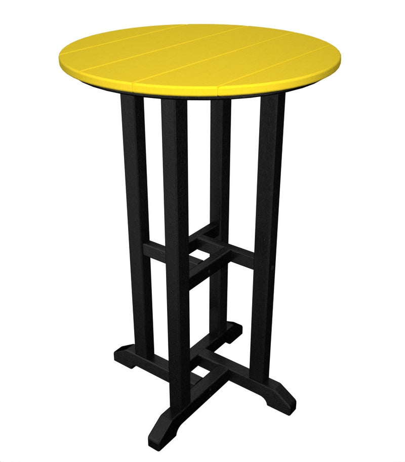 RRT224FBLLE Contempo 24inch Round Counter Table in Black and Lemon