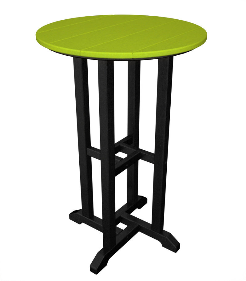 RRT224FBLLI Contempo 24inch Round Counter Table in Black and Lime