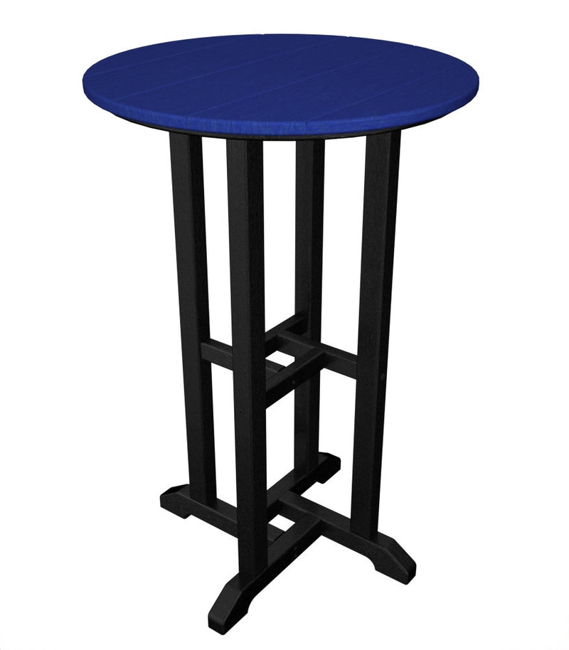 RRT224FBLPB Contempo 24inch Round Counter Table in Black and Pacific Blue