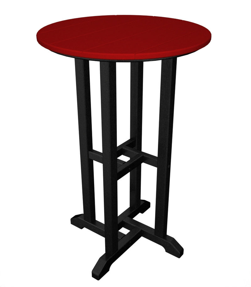 RRT224FBLSR Contempo 24inch Round Counter Table in Black and Sunset Red