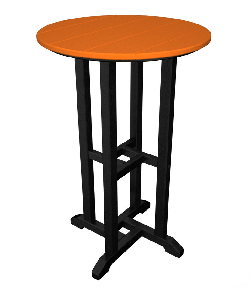 RRT224FBLTA Contempo 24inch Round Counter Table in Black and Tangerine