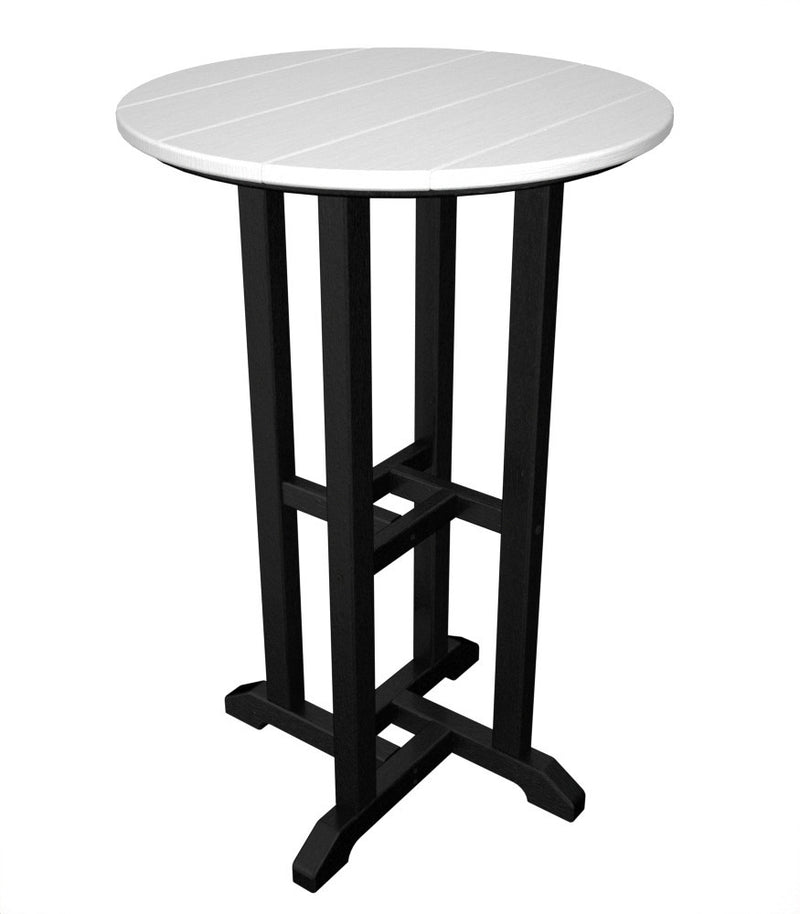 RRT224FBLWH Contempo 24inch Round Counter Table in Black and White