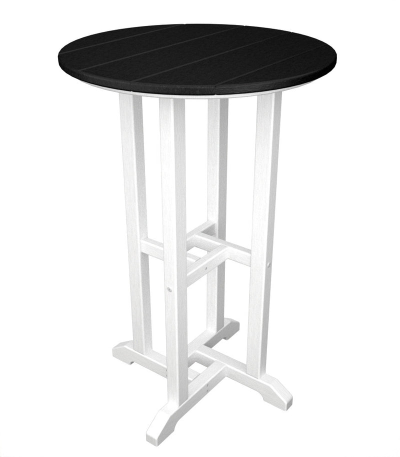 RRT224FWHBL Contempo 24inch Round Counter Table in White and Black