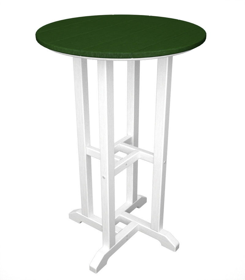 RRT224FWHGR Contempo 24inch Round Counter Table in White and Green