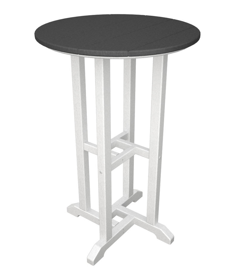RRT224FWHGY Contempo 24inch Round Counter Table in White and Slate Grey