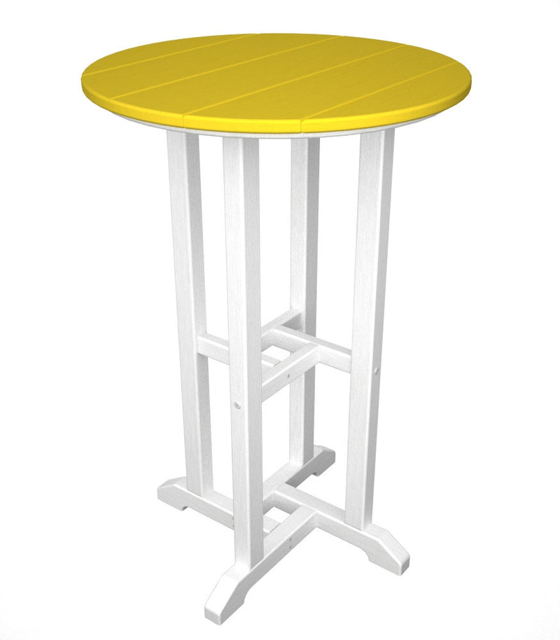 RRT224FWHLE Contempo 24inch Round Counter Table in White and Lemon
