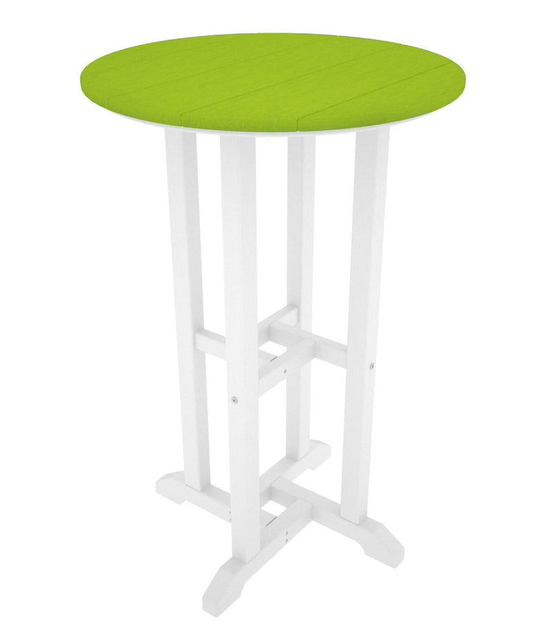 RRT224FWHLI Contempo 24inch Round Counter Table in White and Lime