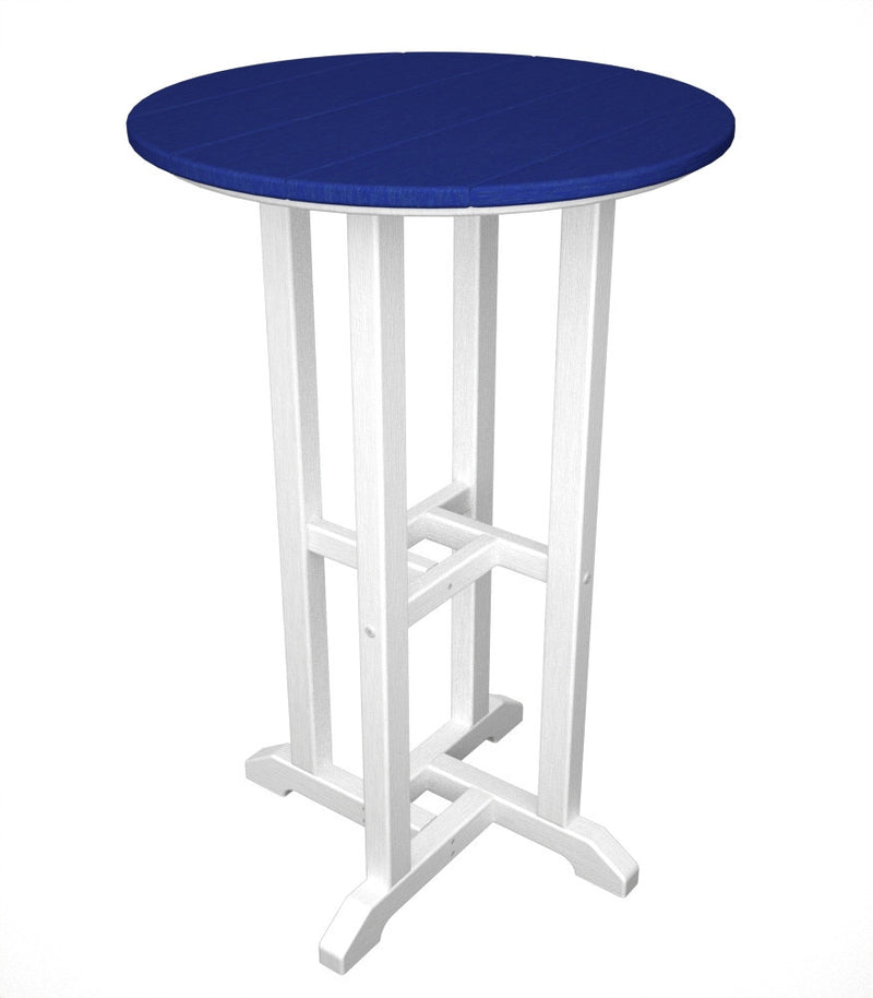 RRT224FWHPB Contempo 24inch Round Counter Table in White and Pacific Blue