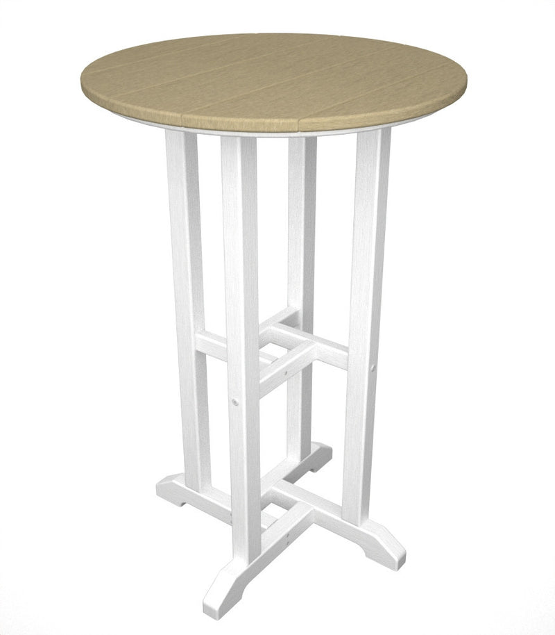 RRT224FWHSA Contempo 24inch Round Counter Table in White and Sand