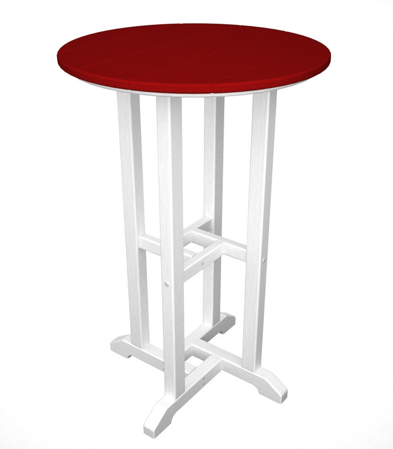 RRT224FWHSR Contempo 24inch Round Counter Table in White and Sunset Red