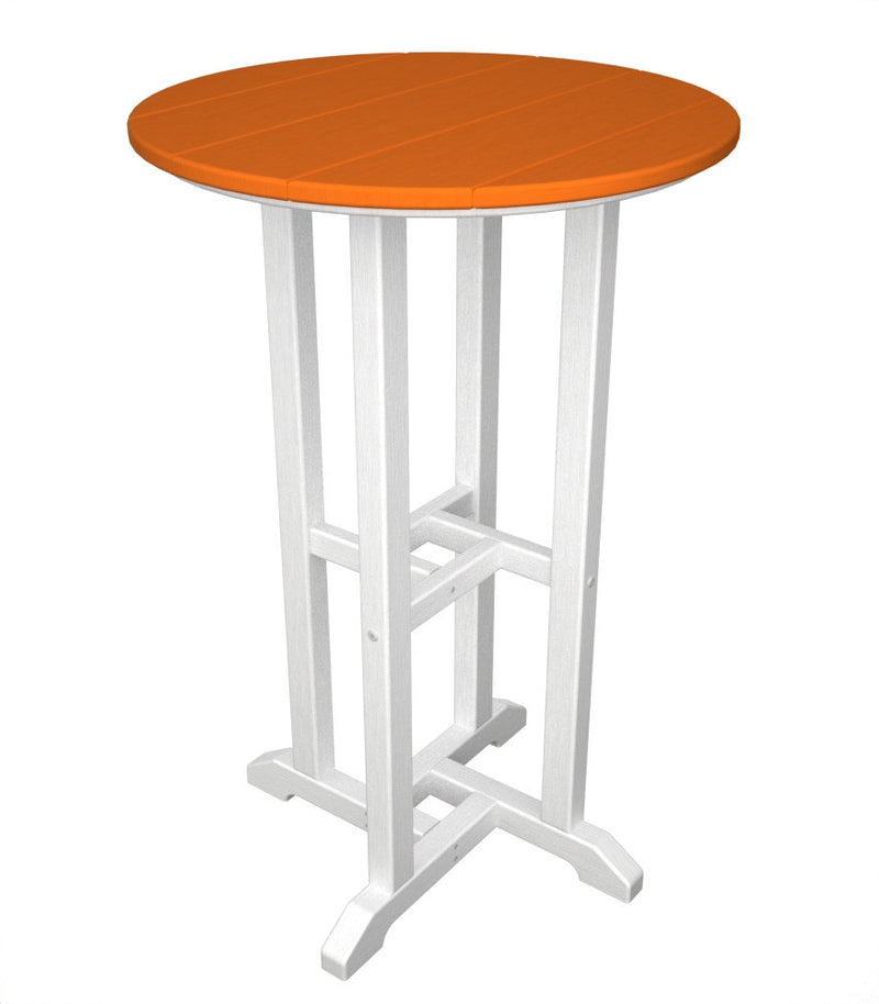 RRT224FWHTA Contempo 24inch Round Counter Table in White and Tangerine