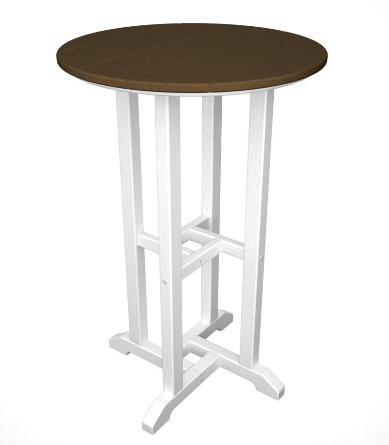 RRT224FWHTE Contempo 24inch Round Counter Table in White and Teak