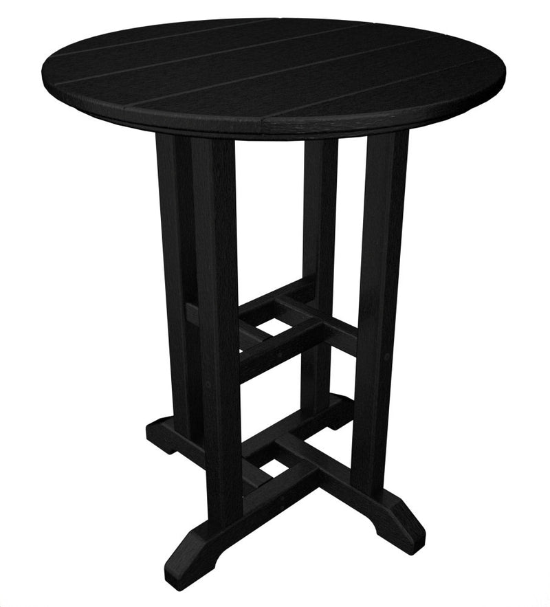 RT124BL Traditional 24inch Round Dining Table in Black