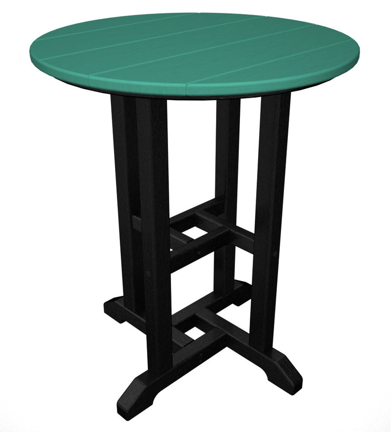 RT224FBLAR Contempo 24inch Round Dining Table in Black and Aruba