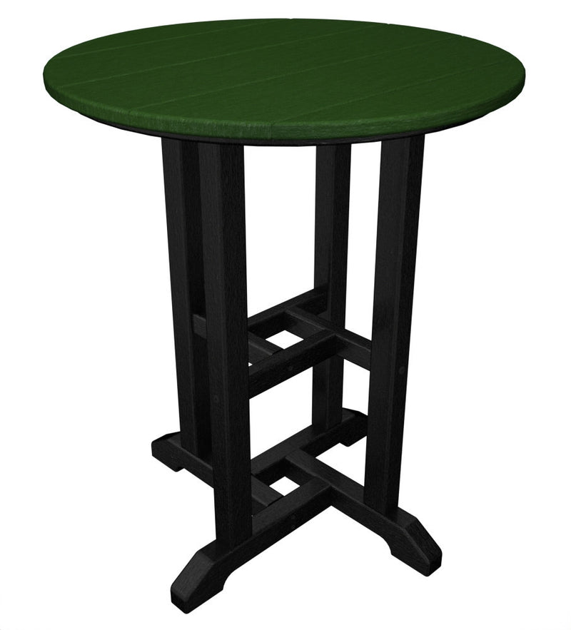 RT224FBLGR Contempo 24inch Round Dining Table in Black and Green