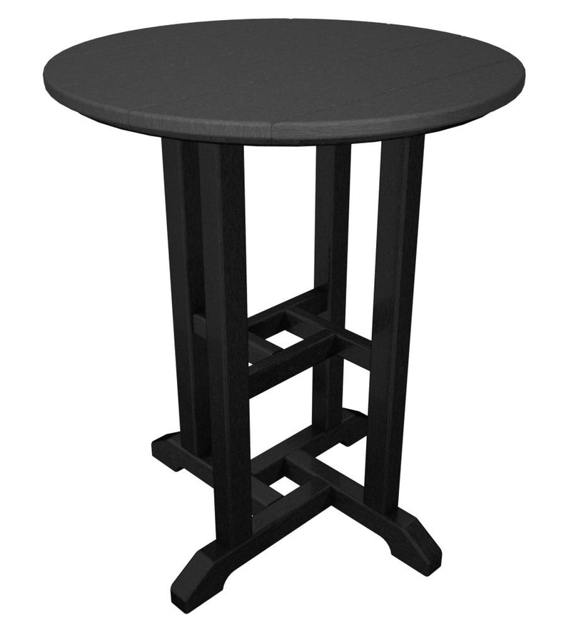 RT224FBLGY Contempo 24inch Round Dining Table in Black and Slate Grey