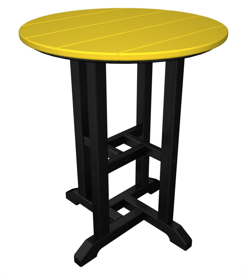 RT224FBLLE Contempo 24inch Round Dining Table in Black and Lemon