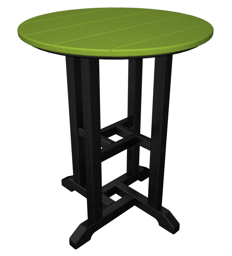 RT224FBLLI Contempo 24inch Round Dining Table in Black and Lime
