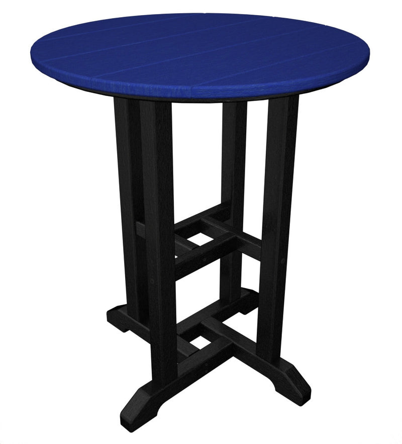 RT224FBLPB Contempo 24inch Round Dining Table in Black and Pacific Blue