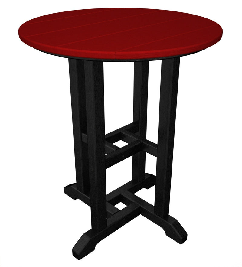 RT224FBLSR Contempo 24inch Round Dining Table in Black and Sunset Red