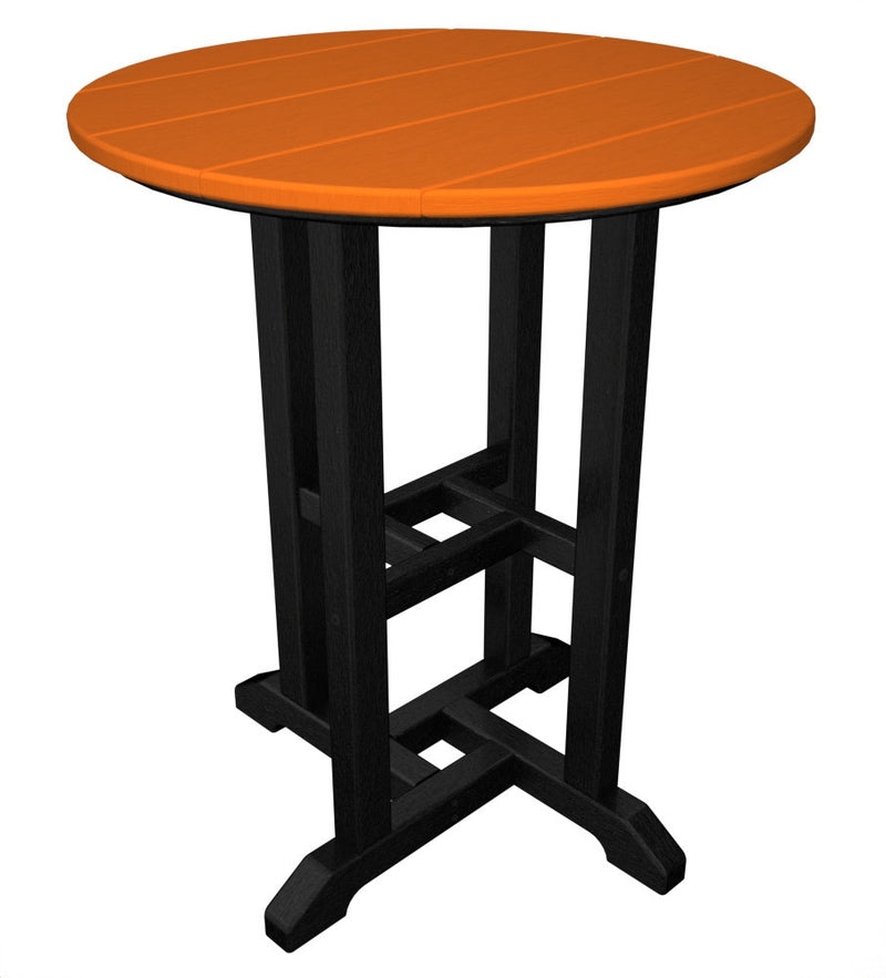 RT224FBLTA Contempo 24inch Round Dining Table in Black and Tangerine