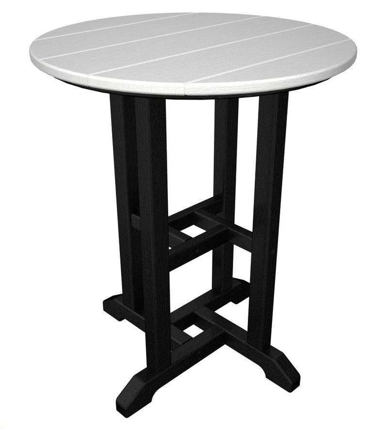 RT224FBLWH Contempo 24inch Round Dining Table in Black and White
