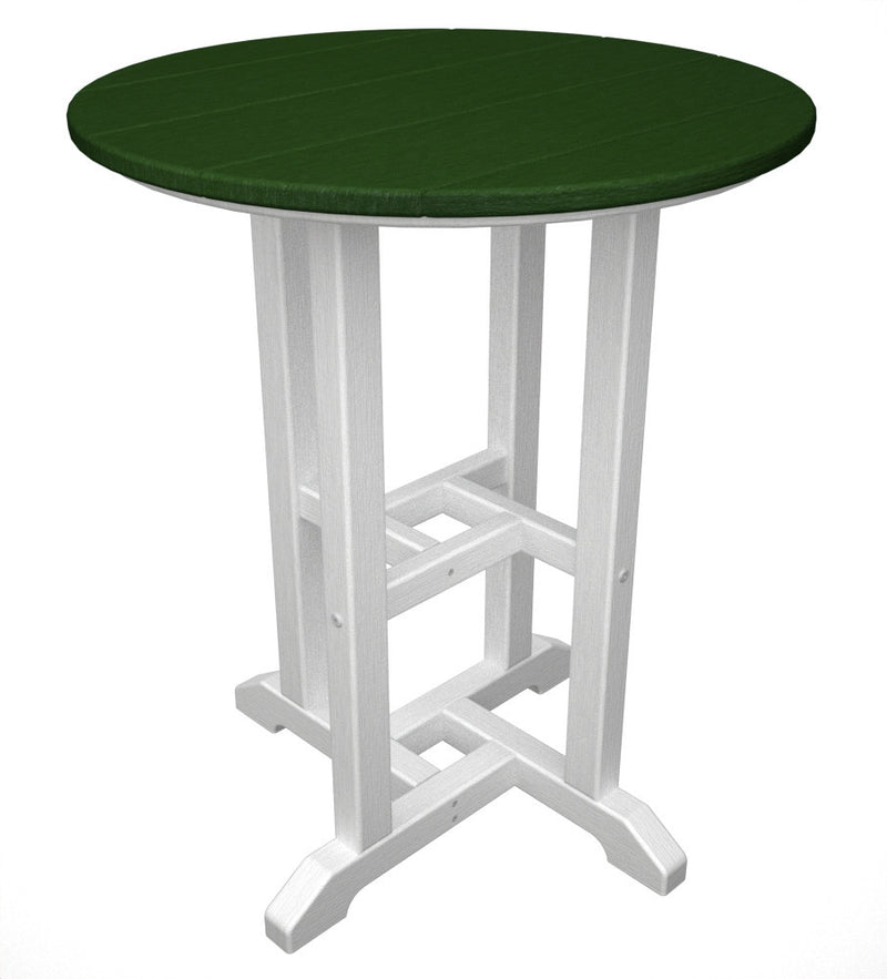 RT224FWHGR Contempo 24inch Round Dining Table in White and Green