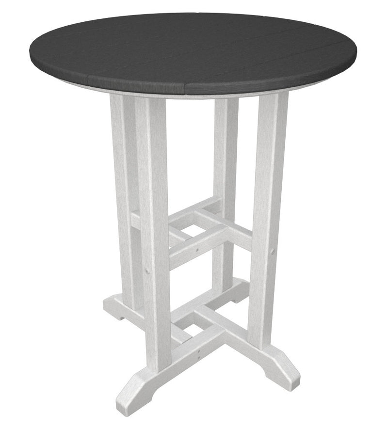 RT224FWHGY Contempo 24inch Round Dining Table in White and Slate Grey