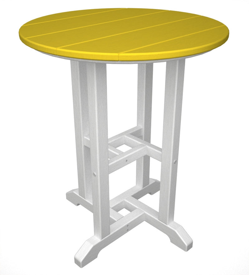 RT224FWHLE Contempo 24inch Round Dining Table in White and Lemon