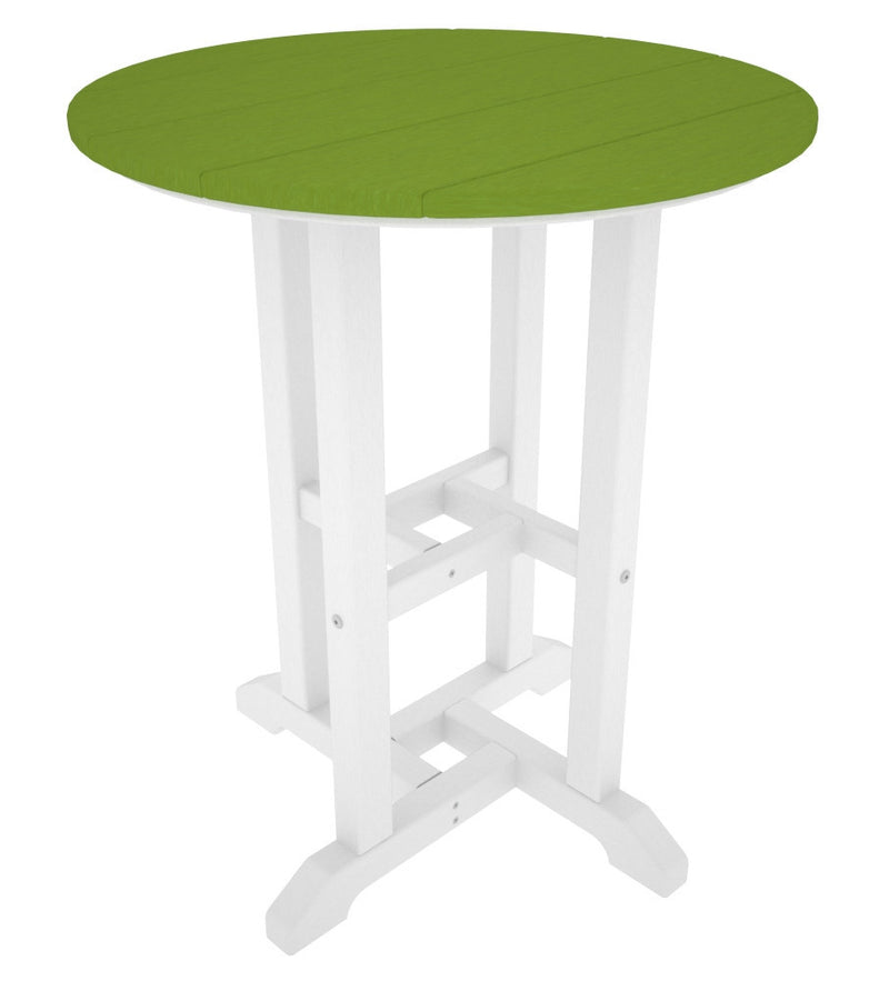 RT224FWHLI Contempo 24inch Round Dining Table in White and Lime