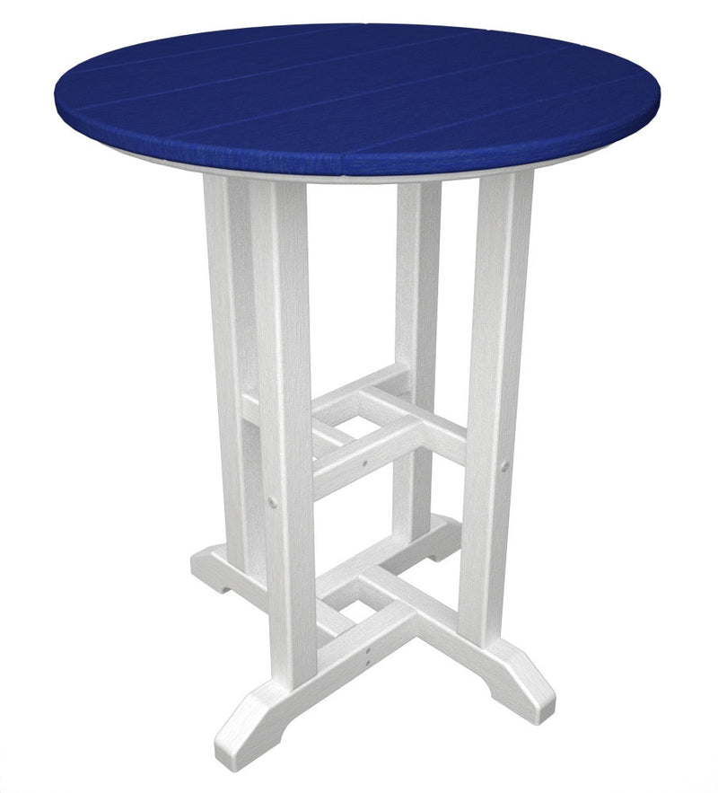 RT224FWHPB Contempo 24inch Round Dining Table in White and Pacific Blue