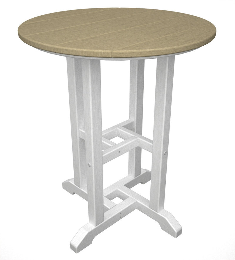 RT224FWHSA Contempo 24inch Round Dining Table in White and Sand