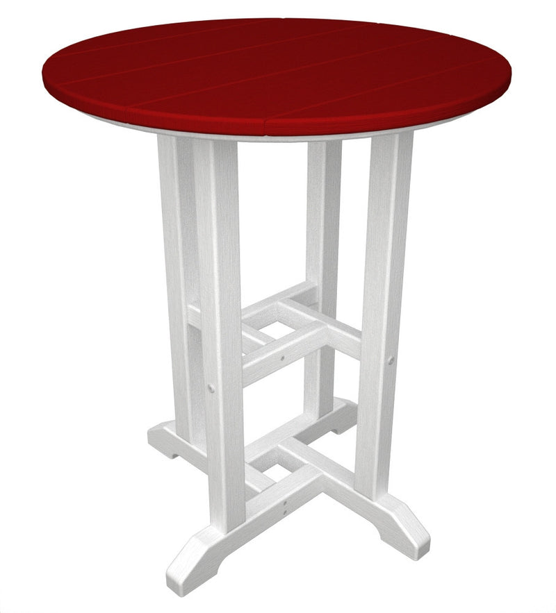 RT224FWHSR Contempo 24inch Round Dining Table in White and Sunset Red